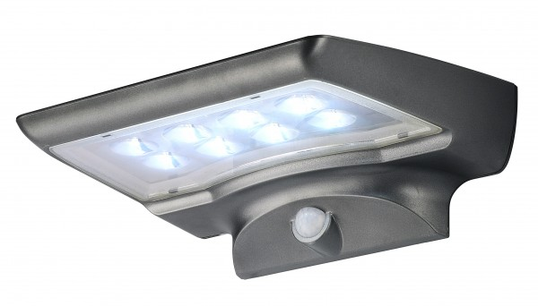 LED Solar-Wandleuchte dunkelgrau mit Sensor aus Kunststoff