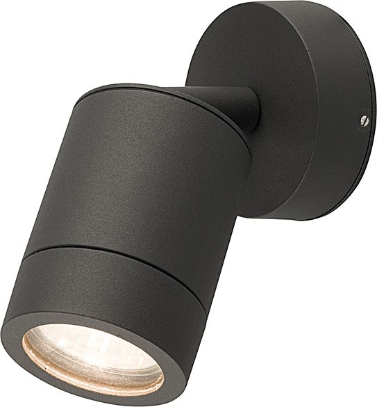 FALLON Außenwandleuchte modern Aluminium/Glas grau Außenlampe Wandlampe GU10 35W