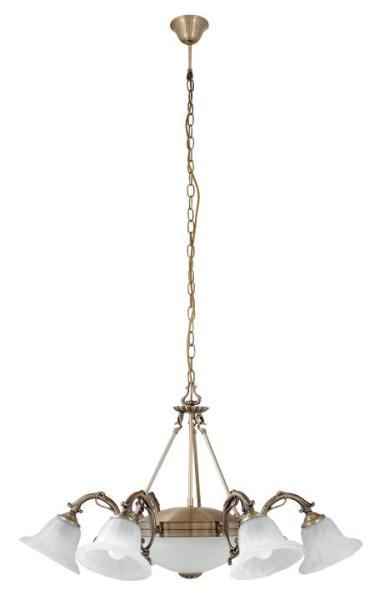 Pendelleuchte aus Glas bronze 8 flammig E27+E14 Orchidea
