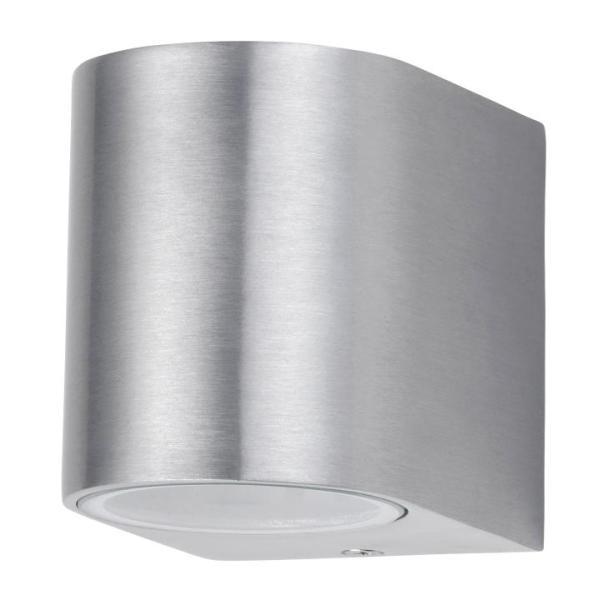 Chile Außenwandleuchte modern Metall/Glas gebürstetes Aluminium Außenlampe Wandlampe GU10 35W