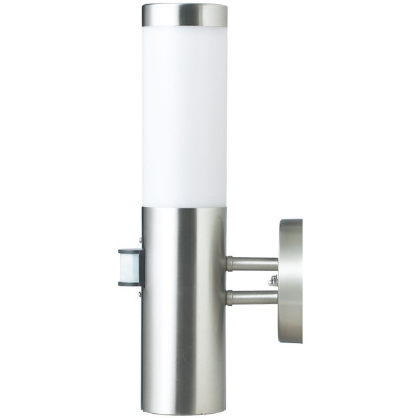 Außenwandleuchte silber Edelstahlgehäuse mit Sensor 36cm