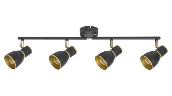 Deckenleuchte schwarz/gold Metall E14 4X MAX 40W IP20