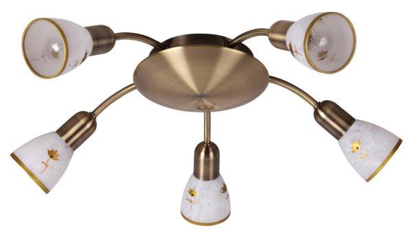 Deckenleuchte aus Glas 5 flammig bronze E14 rund