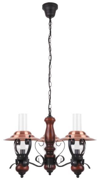 Pendelleuchte aus Holz bronze 3 flammig E14 Enna
