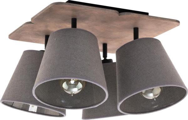 Deckenleuchte aus Holz 4 flammig braun E27