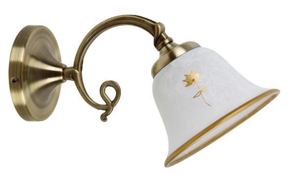 Art flower Wandleuchte klassisch Metall/Glas bronze/Alabasterglas Wandlampe E14 40W
