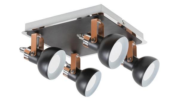 Deckenleuchte matt schwarz/champagner/chrom/schwarz/weiss Metall GU10 4X MAX 35W IP20
