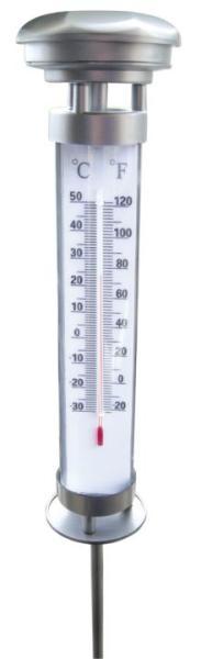 Solar-Thermometer inkl. LED Beleuchtung Gartenspieß Kunststoff