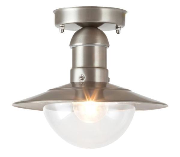 Oslo Außendeckenleuchte klassisch Metall/Kunststoff edelstahl Außenleuchte Deckenlampe Außenlampe E2
