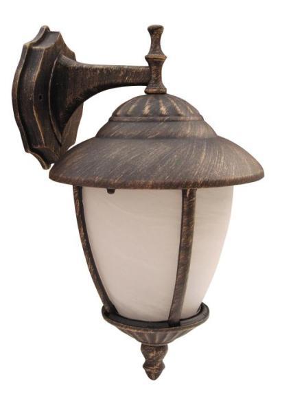 Madrid Außenwandleuchte klassisch Metall/Glas antikgold/Alabasterglas Außenlampe Wandlampe E27 60W