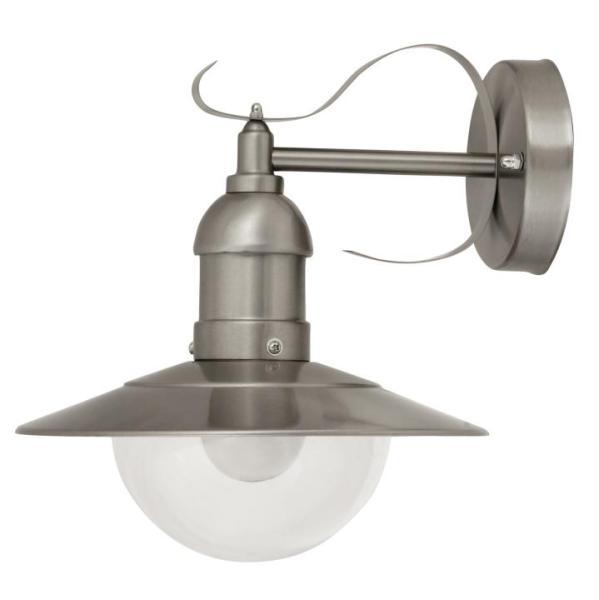Oslo Außenwandleuchte klassisch Metall/Kunststoff edelstahl Außenlampe Wandlampe E27 60W