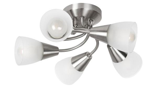 Deckenleuchte chrom matt/chrom/Opalglas Metall Glas E14 5X 40W IP20