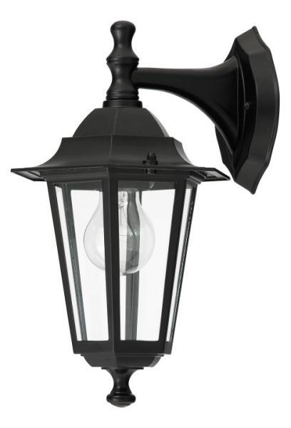 Velence Außenwandleuchte klassisch Metall/Glas schwarz Außenlampe Wandlampe E27 60W