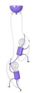 Kinderzimmerlampe lila aus Metall 2 flammig E27
