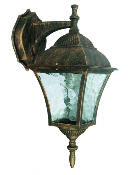 Toscana Außenwandleuchte klassisch Metall/Glas antikgold Außenlampe Wandlampe E27 60W